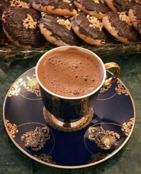 real Turkish coffee with a brown background