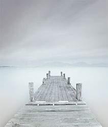 the pier in white mist