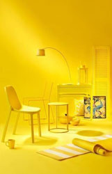 yellow room with yellow furniture