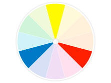 3 basic colors named primary colors on a color wheel