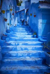 blue stairs made of stone