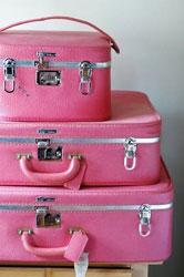 pink vintage suitcases